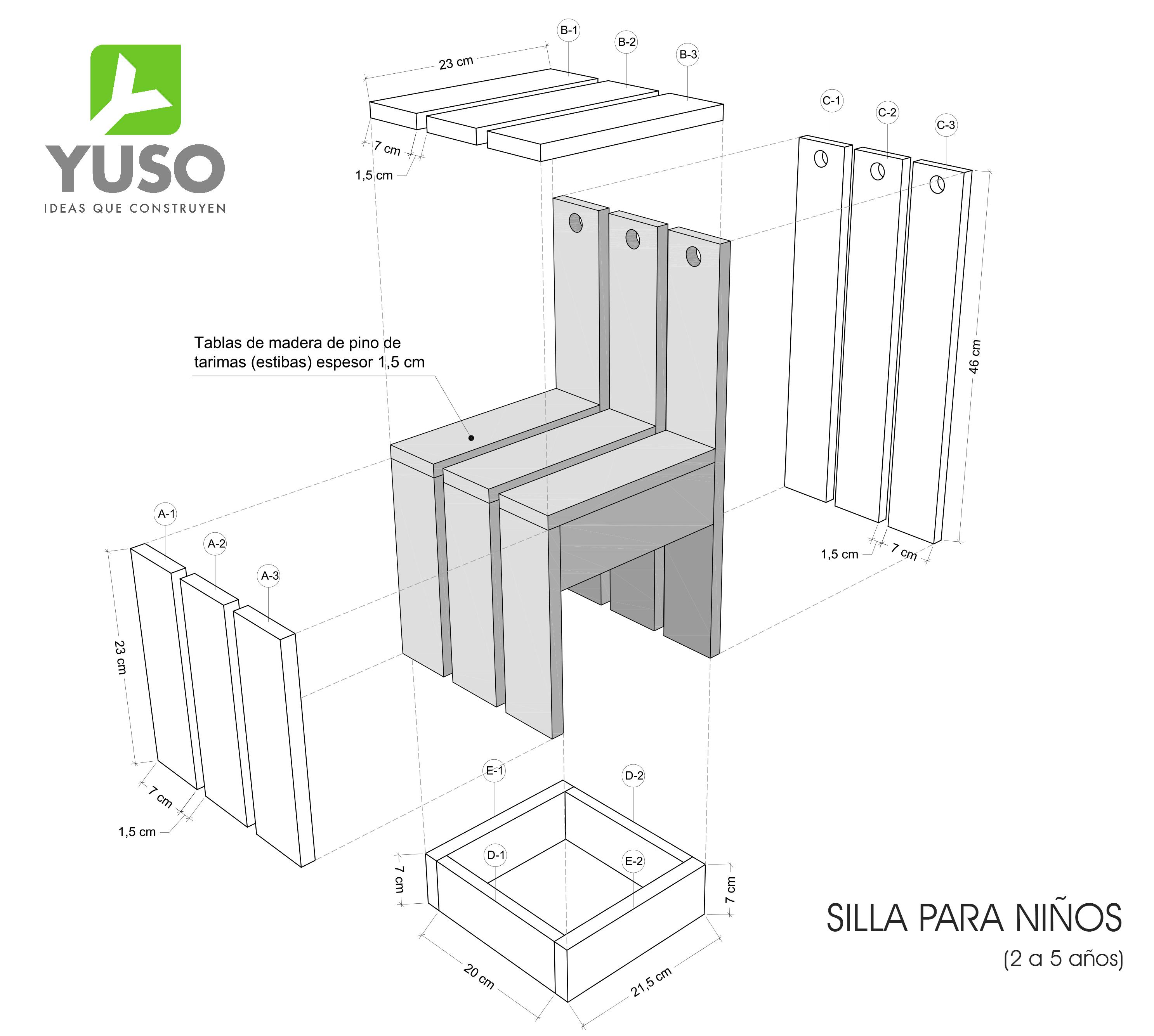 sillas de madera para ni os planos images